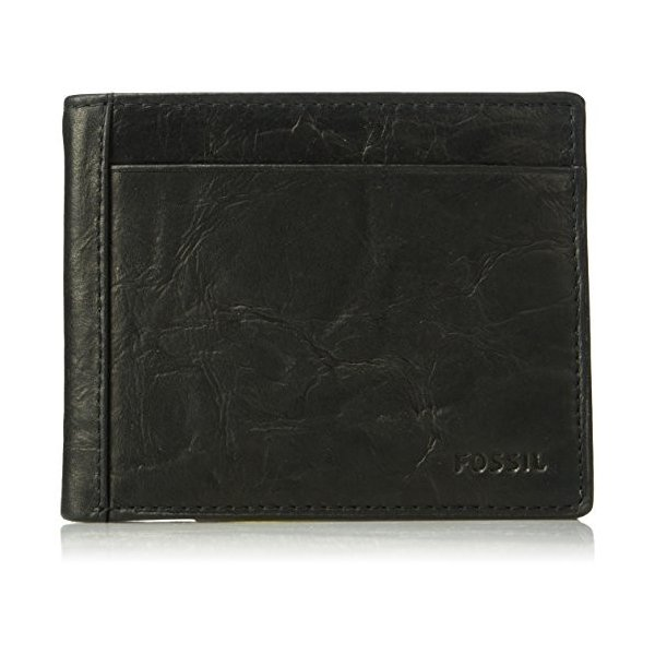 8 Credit Card Slots New In Box Mens Black Leather Bi-Fold Wallet