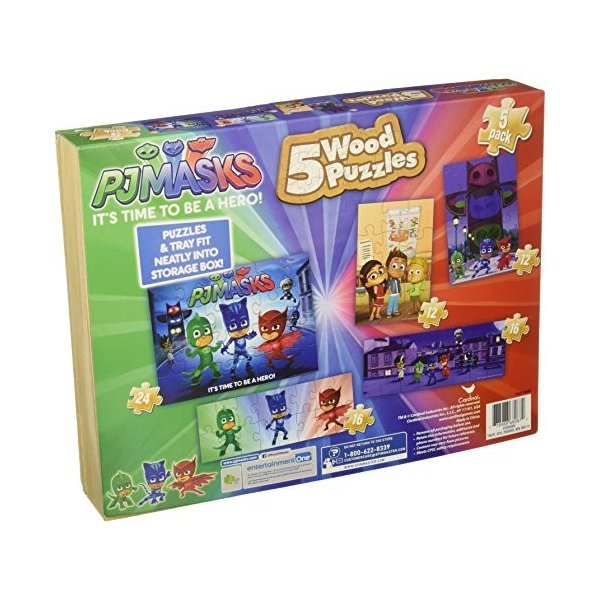 パウパトロールpj masks 5 wood puzzles in wooden storage box styles