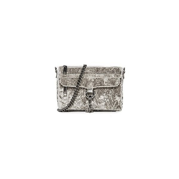 レベッカミンコフRebecca Minkoff Women's Crushed Velvet Mini Mac Bag, Grey, One Size