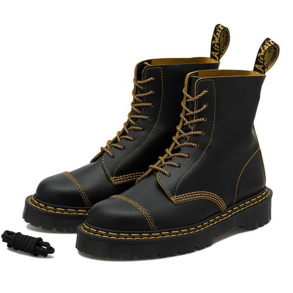 1460 PASCAL BEX DOUBLE STITCH LEATHER BOOTS BLACK+YELLOW SMOOTH SLICE 25946032