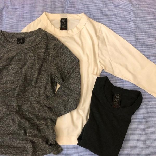 homspun (ホームスパン) 天竺七分袖Tシャツ 生成/粗挽杢チャコール/TOPダークグリーン