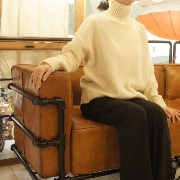 ICHI Antiquite's メリヤスタートルセーター オフホワイト
