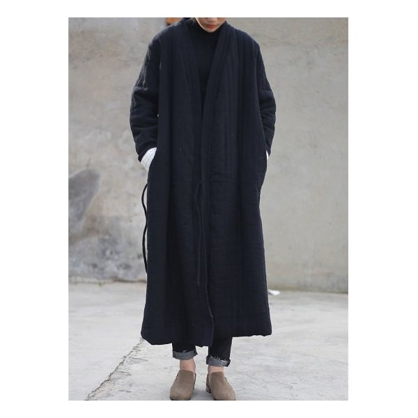 Topanga Fashion ストライプキルトロングコート ブラック|abracadabra