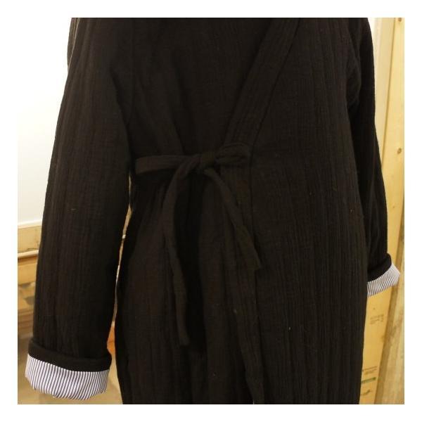 Topanga Fashion ストライプキルトロングコート ブラック|abracadabra|11