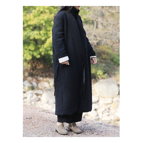 Topanga Fashion ストライプキルトロングコート ブラック|abracadabra|12
