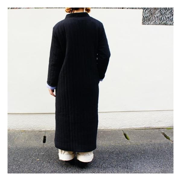 Topanga Fashion ストライプキルトロングコート ブラック|abracadabra|03