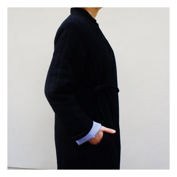 Topanga Fashion ストライプキルトロングコート ブラック|abracadabra|04