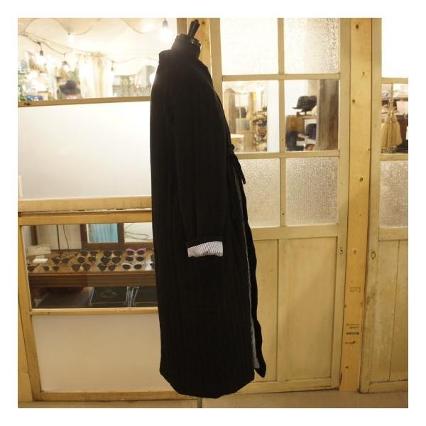 Topanga Fashion ストライプキルトロングコート ブラック|abracadabra|06