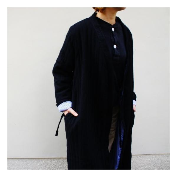 Topanga Fashion ストライプキルトロングコート ブラック|abracadabra|07