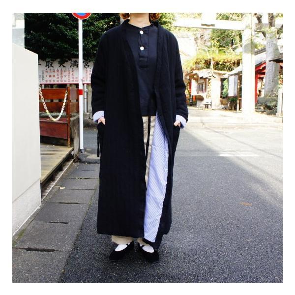 Topanga Fashion ストライプキルトロングコート ブラック|abracadabra|08
