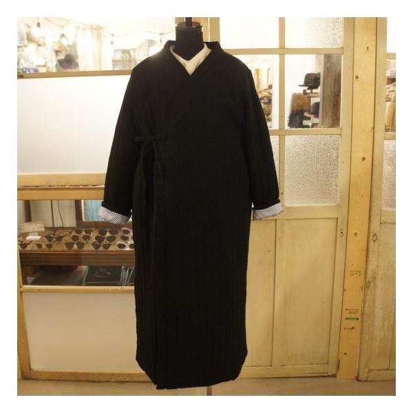 Topanga Fashion ストライプキルトロングコート ブラック|abracadabra|09