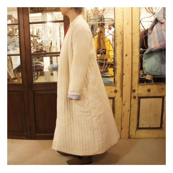 Topanga Fashion ストライプキルトロングコート アイボリー|abracadabra|02