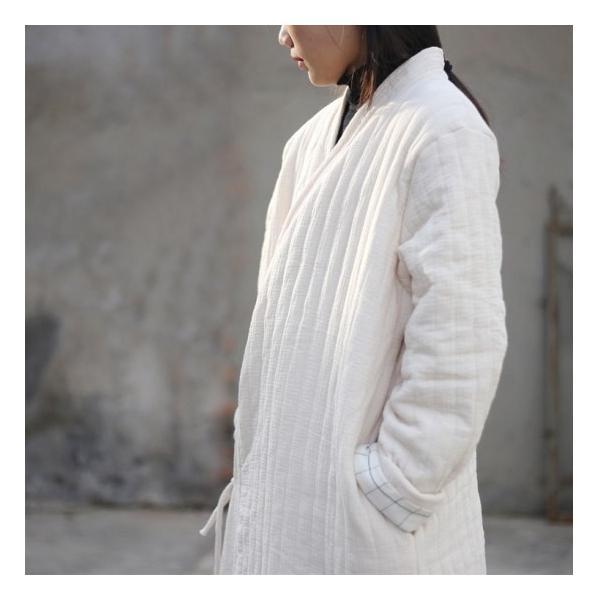 Topanga Fashion ストライプキルトロングコート アイボリー|abracadabra|12