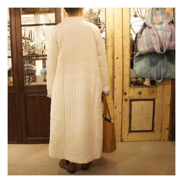 Topanga Fashion ストライプキルトロングコート アイボリー|abracadabra|03
