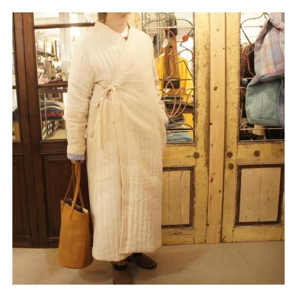 Topanga Fashion ストライプキルトロングコート アイボリー|abracadabra|05
