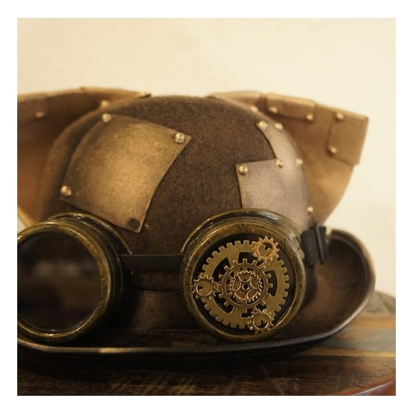TOPANGA FASHION スチームパンク耳付きハット ゴールド|abracadabra|02
