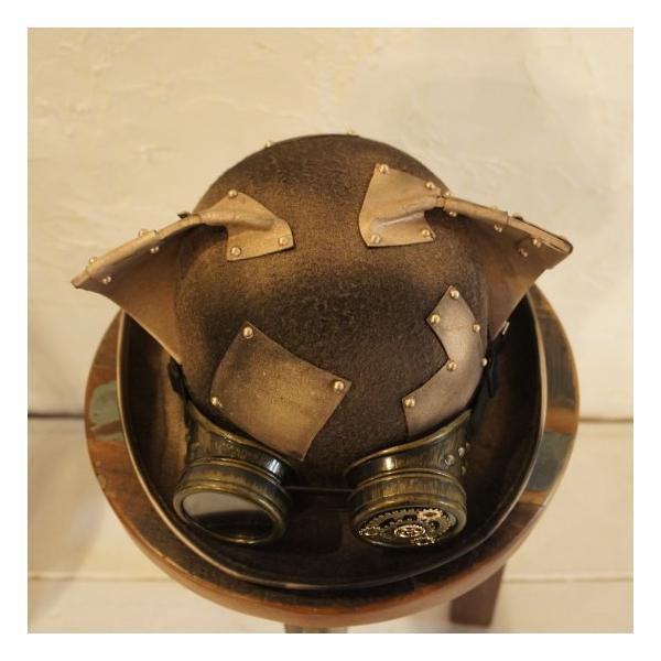TOPANGA FASHION スチームパンク耳付きハット ゴールド|abracadabra|06