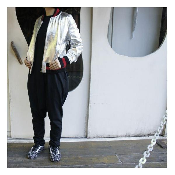Topanga Fashion シャイニーレザースタジャン シルバー|abracadabra|05