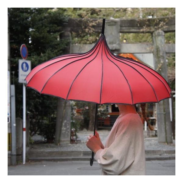 TOPANGA FASHION サーカステントパゴダ雨傘 レッド