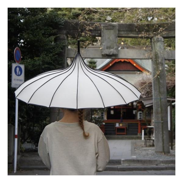 TOPANGA FASHION サーカステントパゴダ雨傘 アイボリー