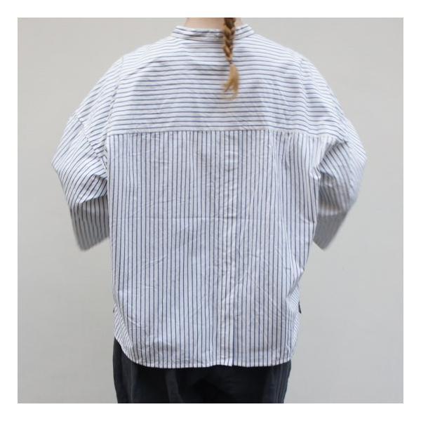 UNIVERSAL SEVEN ストライプバンドカラーシャツ ブルーストライプ abracadabra 03