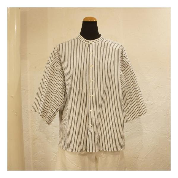 UNIVERSAL SEVEN ストライプバンドカラーシャツ ブルーストライプ abracadabra 06