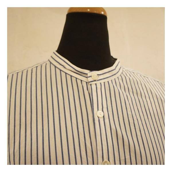 UNIVERSAL SEVEN ストライプバンドカラーシャツ ブルーストライプ abracadabra 07