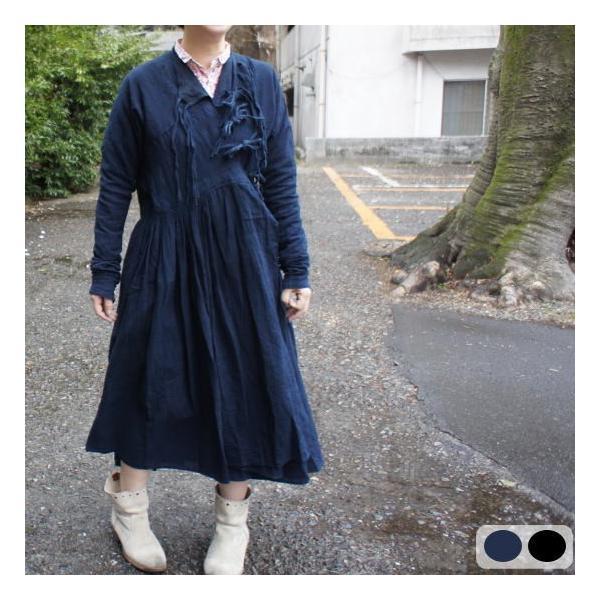 Bohemiano Japan カディラバーリラップワンピース 藍/鉄黒|abracadabra