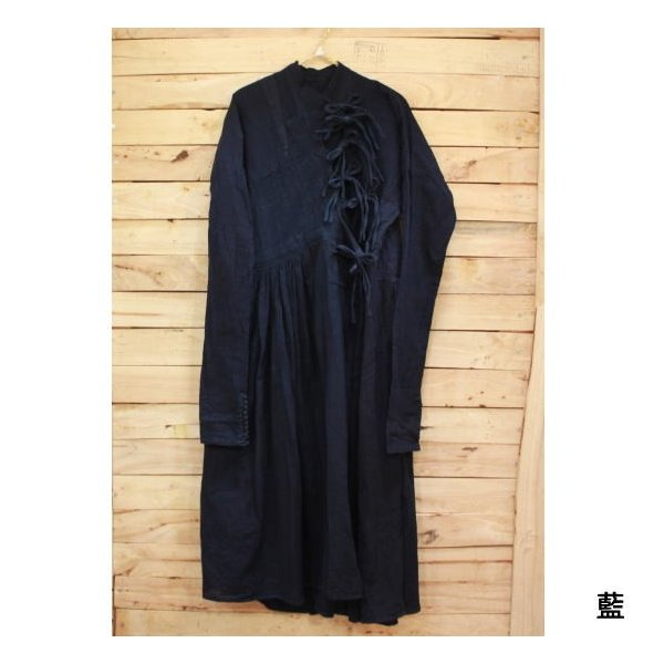 Bohemiano Japan カディラバーリラップワンピース 藍/鉄黒|abracadabra|05