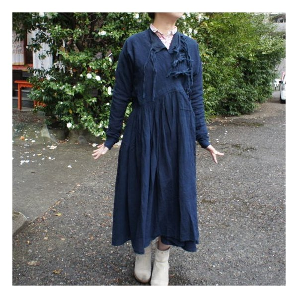 Bohemiano Japan カディラバーリラップワンピース 藍/鉄黒|abracadabra|06