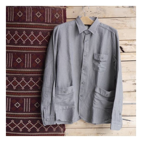DNL Italy コットンヘリンボーンシャツジャケット グレー|abracadabra