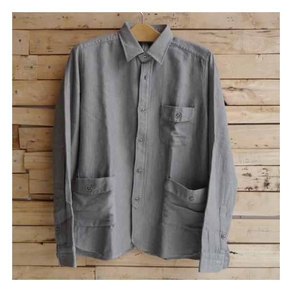 DNL Italy コットンヘリンボーンシャツジャケット グレー|abracadabra|02