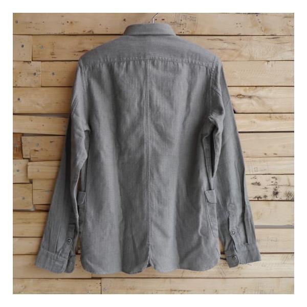 DNL Italy コットンヘリンボーンシャツジャケット グレー|abracadabra|03