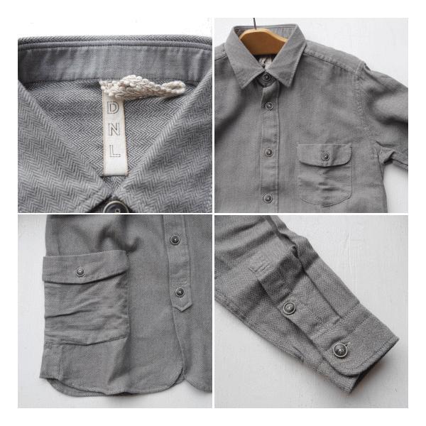 DNL Italy コットンヘリンボーンシャツジャケット グレー|abracadabra|04