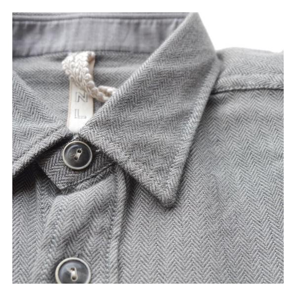 DNL Italy コットンヘリンボーンシャツジャケット グレー|abracadabra|05