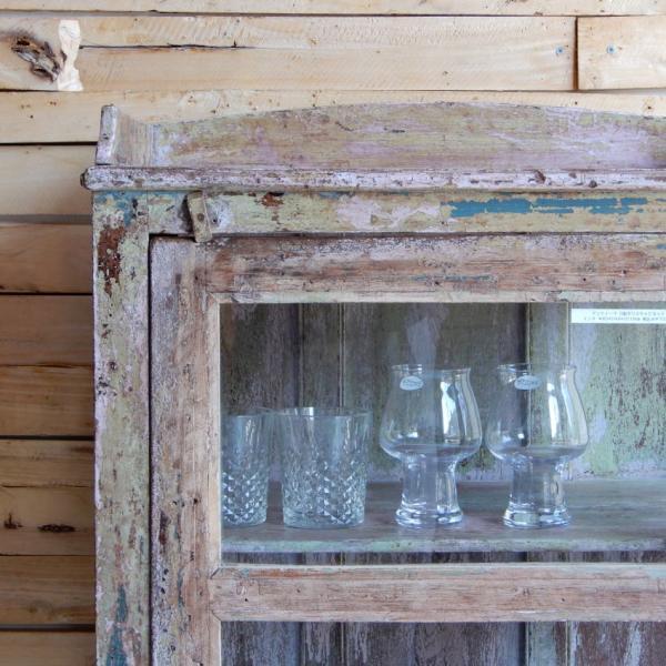 アンティーク 3面ガラスキャビネット やさしいピンクとグリーン|abracadabra|05
