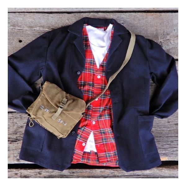 LOLO LIKE(ロロライク) 起毛タータンチェック Bagポケット カーデシャツ レッドチェック|abracadabra|06