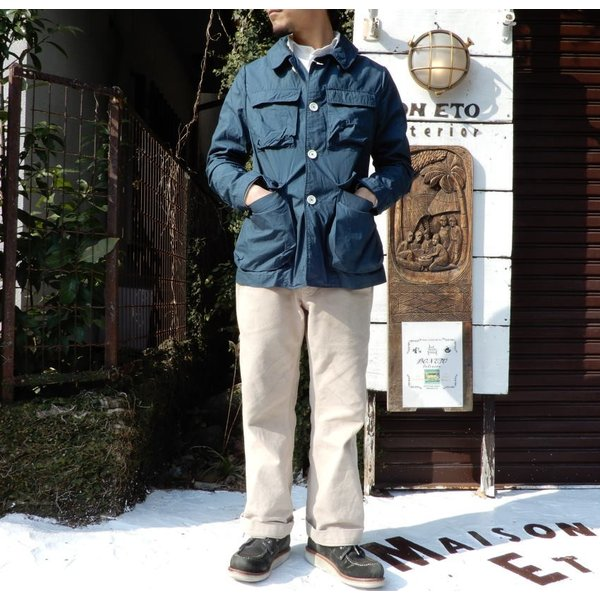 LOLO (ロロ) タイプライターカバーオールジャケット ブルー|abracadabra|04