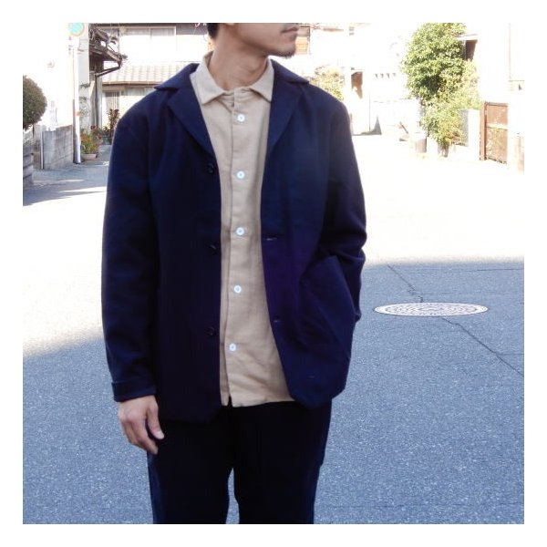 LOLO (ロロ) 綿ウール アンコン シャツジャケット ネイビー|abracadabra