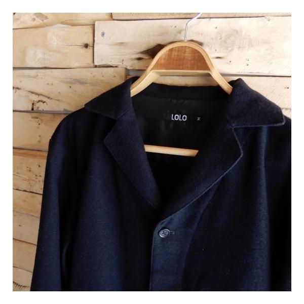 LOLO (ロロ) 綿ウール アンコン シャツジャケット ネイビー|abracadabra|11