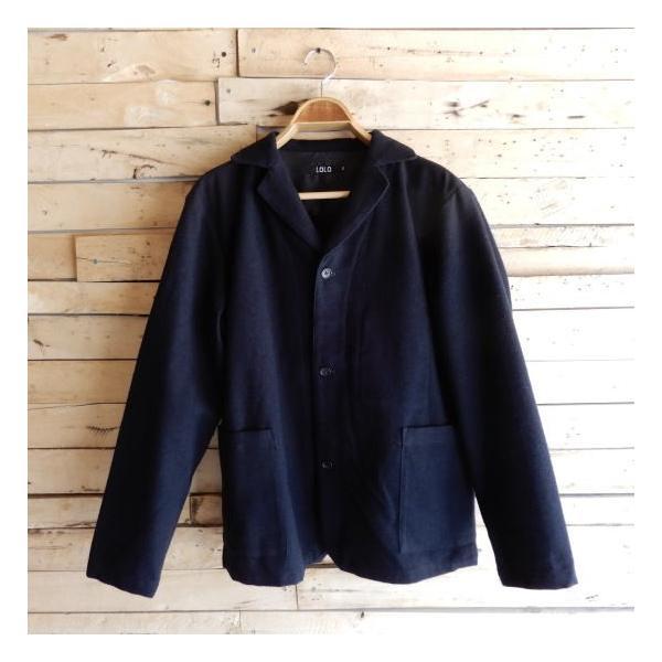 LOLO (ロロ) 綿ウール アンコン シャツジャケット ネイビー|abracadabra|09