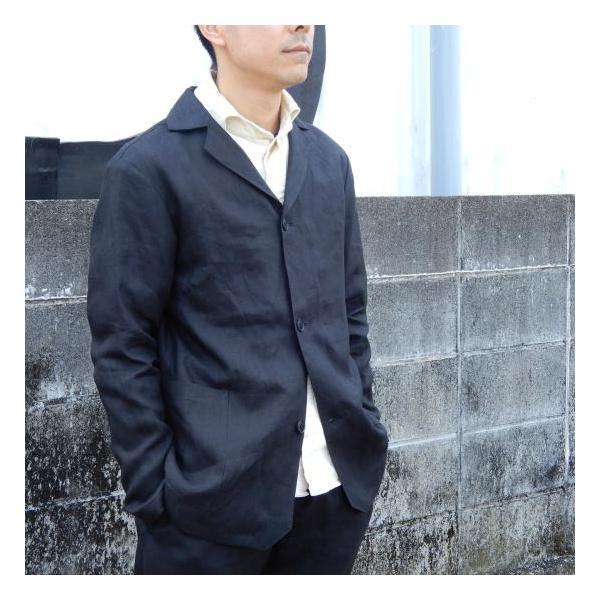 LOLO (ロロ) リネン アンコン シャツジャケット ブラック|abracadabra