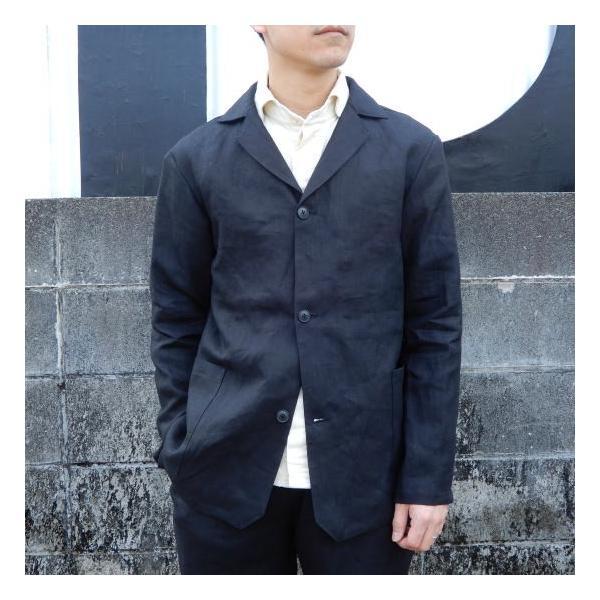 LOLO (ロロ) リネン アンコン シャツジャケット ブラック|abracadabra|02