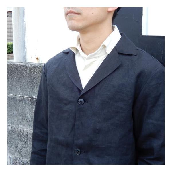 LOLO (ロロ) リネン アンコン シャツジャケット ブラック|abracadabra|03