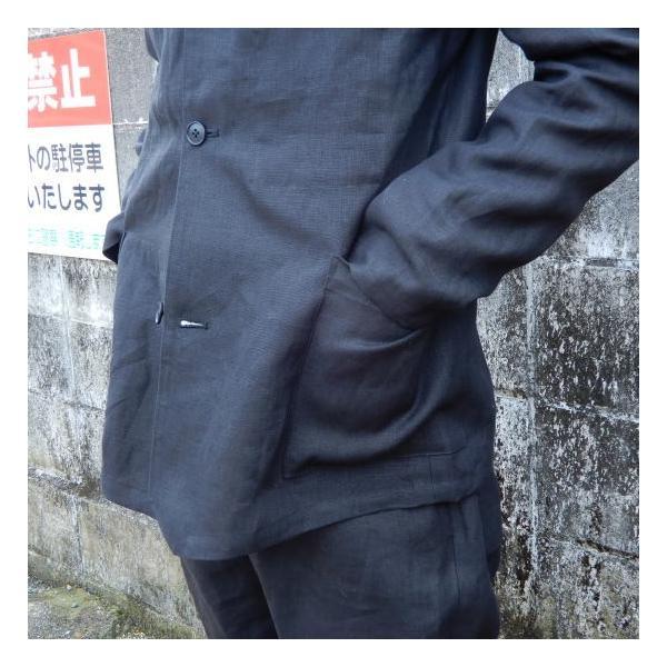 LOLO (ロロ) リネン アンコン シャツジャケット ブラック|abracadabra|04