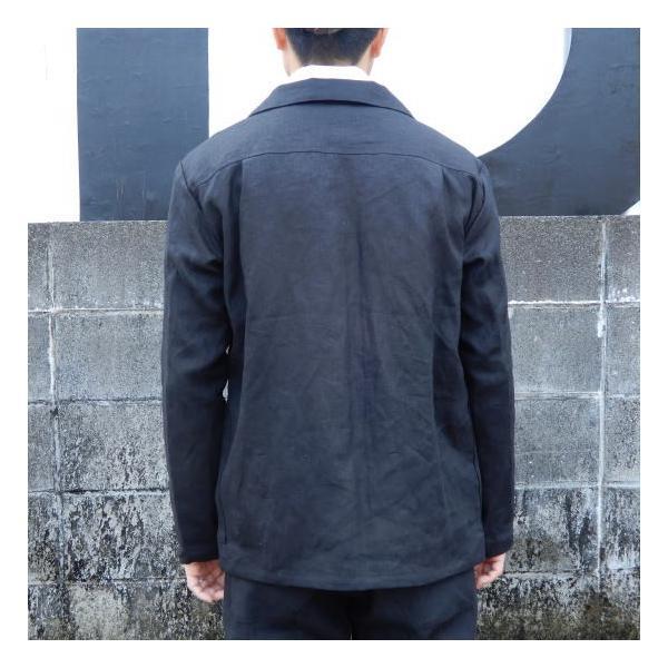 LOLO (ロロ) リネン アンコン シャツジャケット ブラック|abracadabra|05
