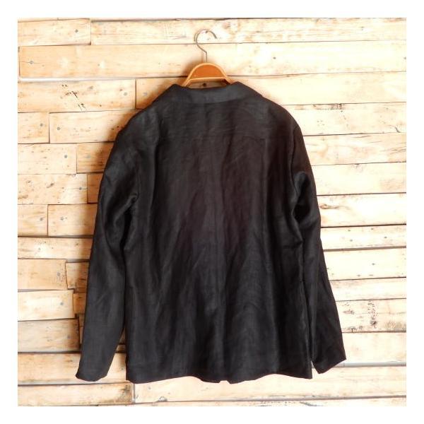 LOLO (ロロ) リネン アンコン シャツジャケット ブラック|abracadabra|08