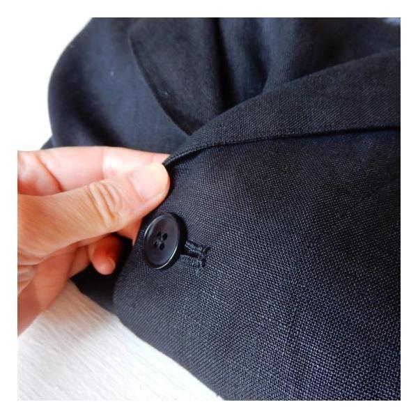 LOLO (ロロ) リネン アンコン シャツジャケット ブラック|abracadabra|09