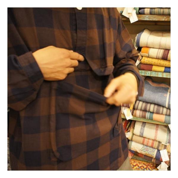 LOLO(ロロ) ブロックチェックアノラックシャツブルゾン ブラウン|abracadabra|02