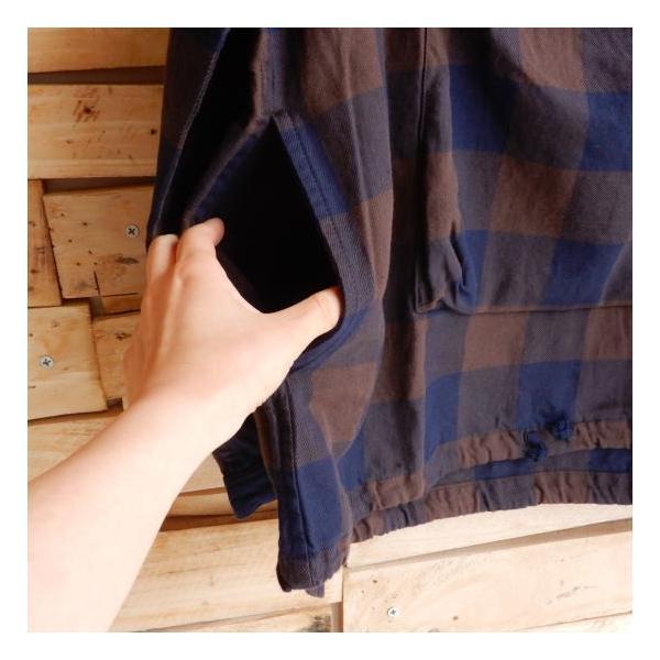 LOLO(ロロ) ブロックチェックアノラックシャツブルゾン ブラウン|abracadabra|11